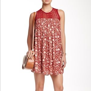 Chloe & Katie crocheted yoke dress burgundy NWT L